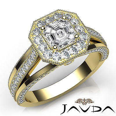 Asscher Diamond Milgrain Pave Engagement Ring GIA E VVS2 18k Yellow Gold 1.61Ct