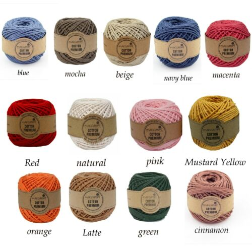 Macrame Organic Cotton Cord Rope Single Twisted 2 mm 278 ft 12 Colors Multicolor
