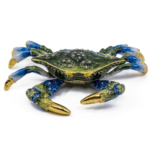 """Bejeweled Enameled Pewter Blue Crab Trinket Box With Crystals 4.25"""" Wide New!"""