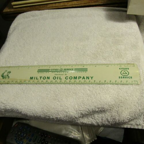 """Vintage Cities Service Products 12"""" Metal Ruler Milton Oil Company Made in USA"""