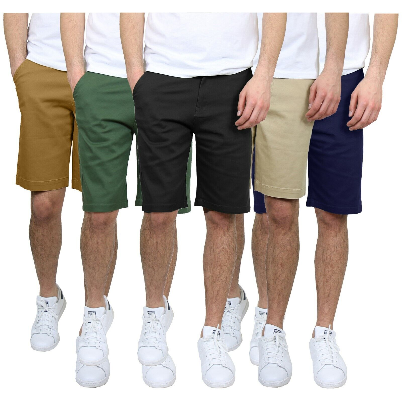 3-Pack Mens Stretch Chino Shorts Flat Front 5 Pocket Summer Casual Slim Fit NEW Clothing, Shoes & Accessories