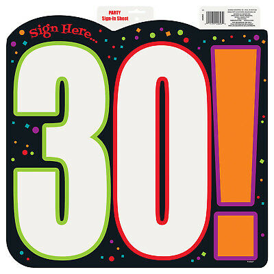 30! Happy 30th Birthday Cheer Party Sign In Sheet Cutout Decoration