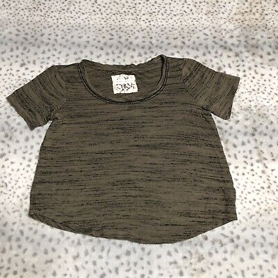 Pure & Good By Anthropologie Top Size Small Green Asymmetric Short Sleeve Soft