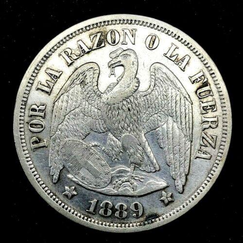 CHILE 1889 So (25 GRAM) UN (1) PESO  SILVER COIN AU/BU KM#142.1