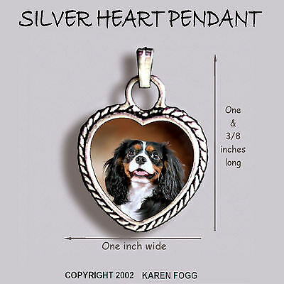 CAVALIER KING CHARLES SPANIEL Tri Color -  Ornate HEART PENDANT Tibetan Silver (Cavalier King Charles Colors)