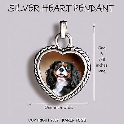 Tri Cavalier King Charles Spaniel - CAVALIER KING CHARLES SPANIEL Tri Color -  Ornate HEART PENDANT Tibetan Silver