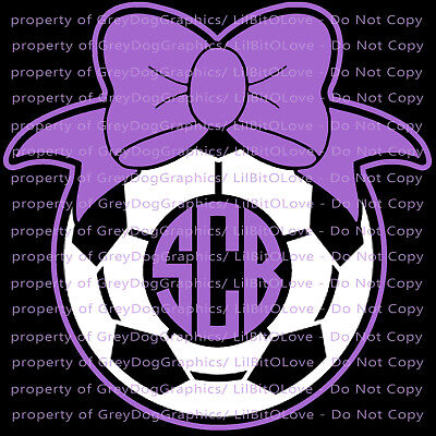 Custom Personalized Soccer Monogram Vinyl Decal Your 3 Initials Bow Sticker Ball (Customized Soccer Balls)