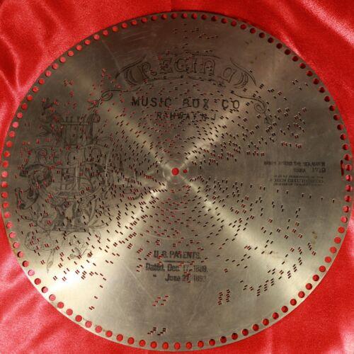 "Antique REGINA Music Box 15.5"" Metal Disc #1719 Hands Across The Sea March SOUSA"
