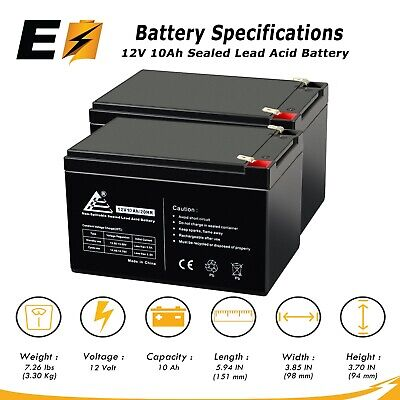 2pk: 12V 10AH SLA Battery F2 Terminals for APC UPS 650 BK650M 10 B-655 & (12v 10ah Sla Rechargeable Battery F2 Terminals)