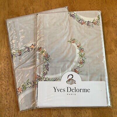 "2 Yves Delorme Galons BOUDOIR Pillow Shams 12"" x 17"" NEW Egyptian Cotton Percale"