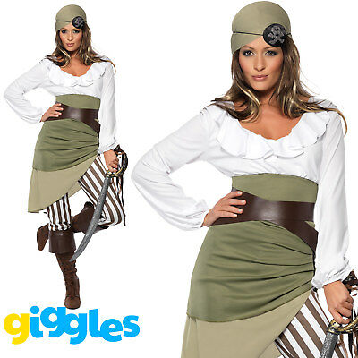 Pirate Shipmate Costume Womens Buccaneer Ladies Halloween Fancy Dress Outfit - Halloween Outfits Pirate