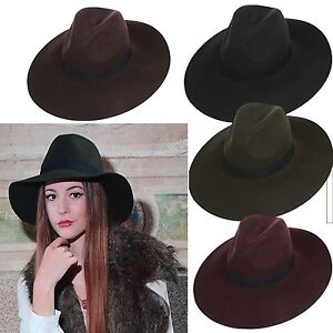 Extra-Wide-brim-Women-039-s-Vintage-Crushable-Floppy-100-Wool-Cowboy-Fedora-Hat-Cap