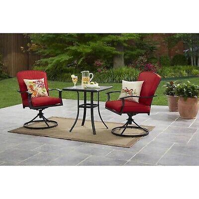 Belden Park 3-Piece Red Cushion Swivel Chair Garden Patio Bistro Set, Seats -