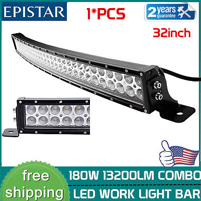 32INCH 180W Curved LED Work Light Bar Flood Spot Combo Boat Driving UTE SLIM