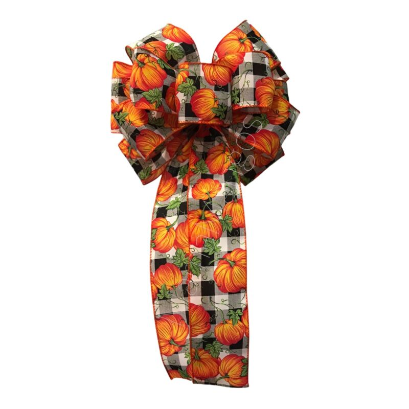 Buffalo Check with Pumpkins Wired Handmade Bow for Wreath Lanterns