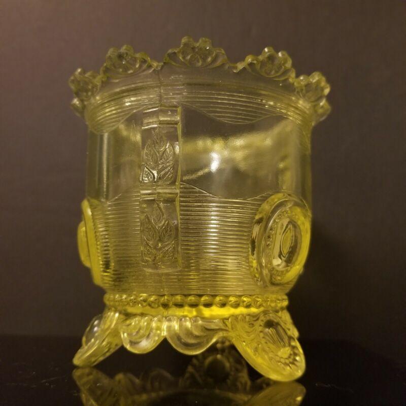 EAPG Dewey Greentown Canary Sugar Bowl Rare Uranium Vaseline Glass