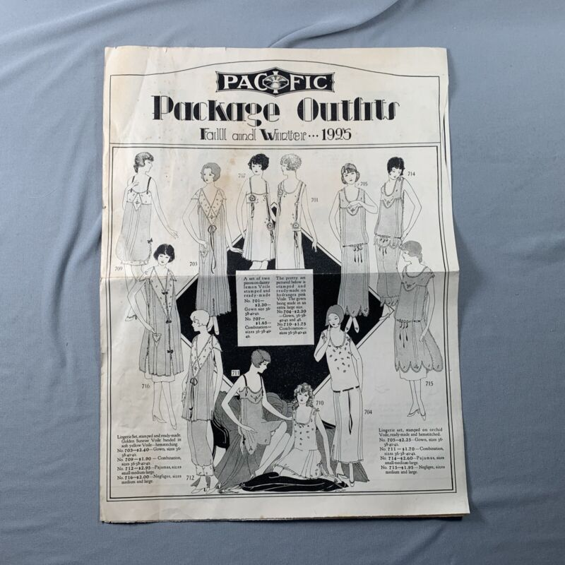 Antique Vtg 1925 Pacific Pattern Catalog Pamphlet Package Outfits Sewing