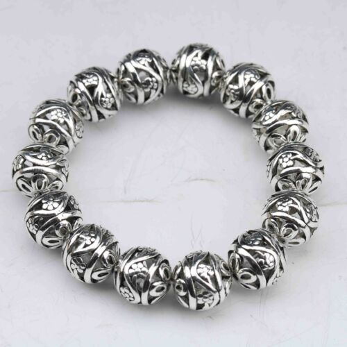 China Tibetan silver gilt Hand Carved Hollow out small ball Bracelet
