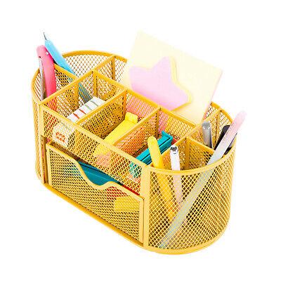 Desk Office Table Organizer Supplies Metal Mesh Pen Pencil Holder Storage Gold