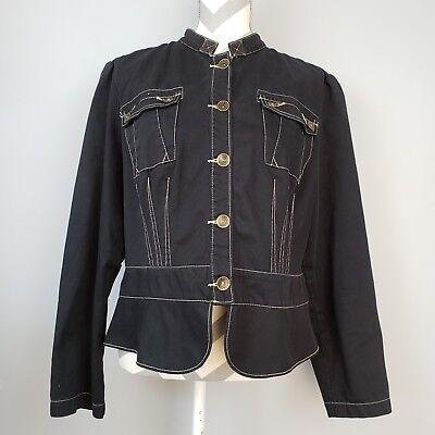 Faded Glory Originals Jacket Sz 18 Black Form Fit Steampunk Metal Buttons Pocket - Steampunk Female