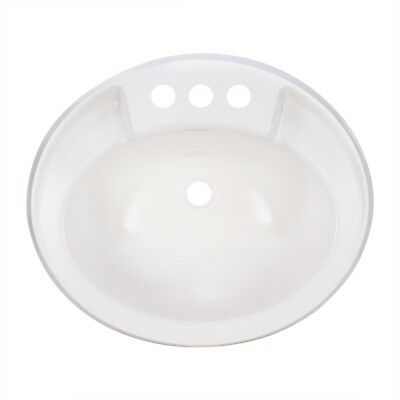 "RecPro Oval RV Bathroom Sink White Single Bowl Sink 20""X17"" Plastic"
