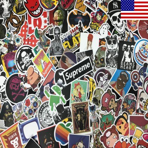100pcs Cool Skateboard Stickers Bulk Pack Snowboard Vinyl Decor Decals Black
