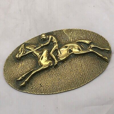 ANTIQUE BRASS WALL PLAQUE HORSE RIDER RACING SHOE JUMP WALL PICTURE