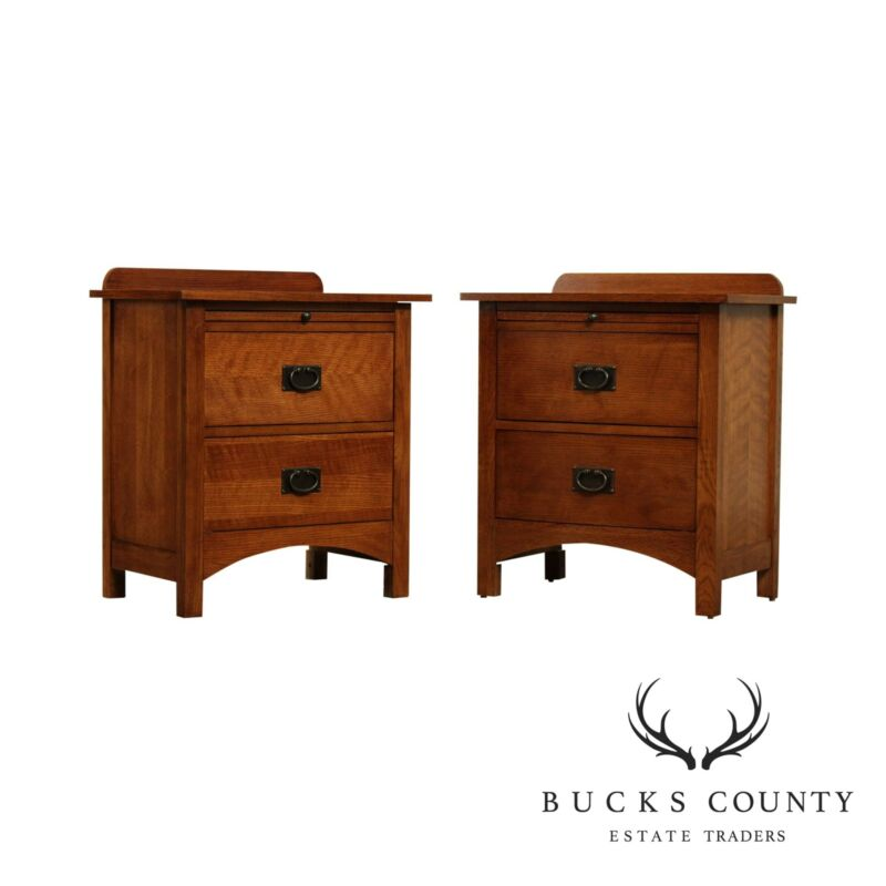 Mission Style Oak Pair 2 Drawer Nightstands