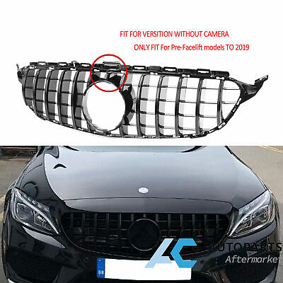 Black GT Style Front Grille For Benz C Class W205 C250 C300 C350 15-18