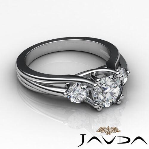 3 Three Stone Prong Set Round Diamond Engagement Ring GIA F VS2 Platinum 1.5ct
