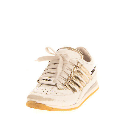 RRP €345 DSQUARED2 Leather Sneakers Size 25 UK 8 US 9 Perforated Made in Italy