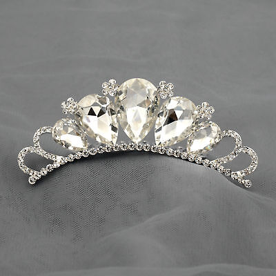 Austrian Crystal Rhinestone Tiara Crown Comb Girl Kid Bridal Wedding Prom - Child Tiara