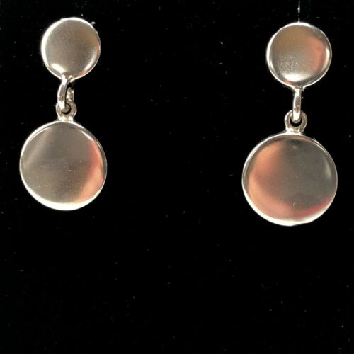 Vintage Mexico sterling silver dangle disc earrings 11.6g