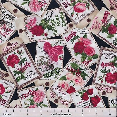 Rose Garden Floral SEED PACKETS BLACK Red Pink Flowers Fabric By the FQ - 1/4 -