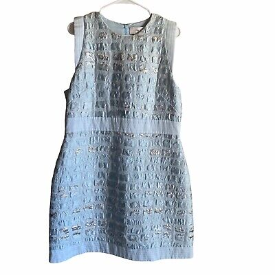 Genny Size 14 Blue Embossed Dress Made In Italy Sleeveless