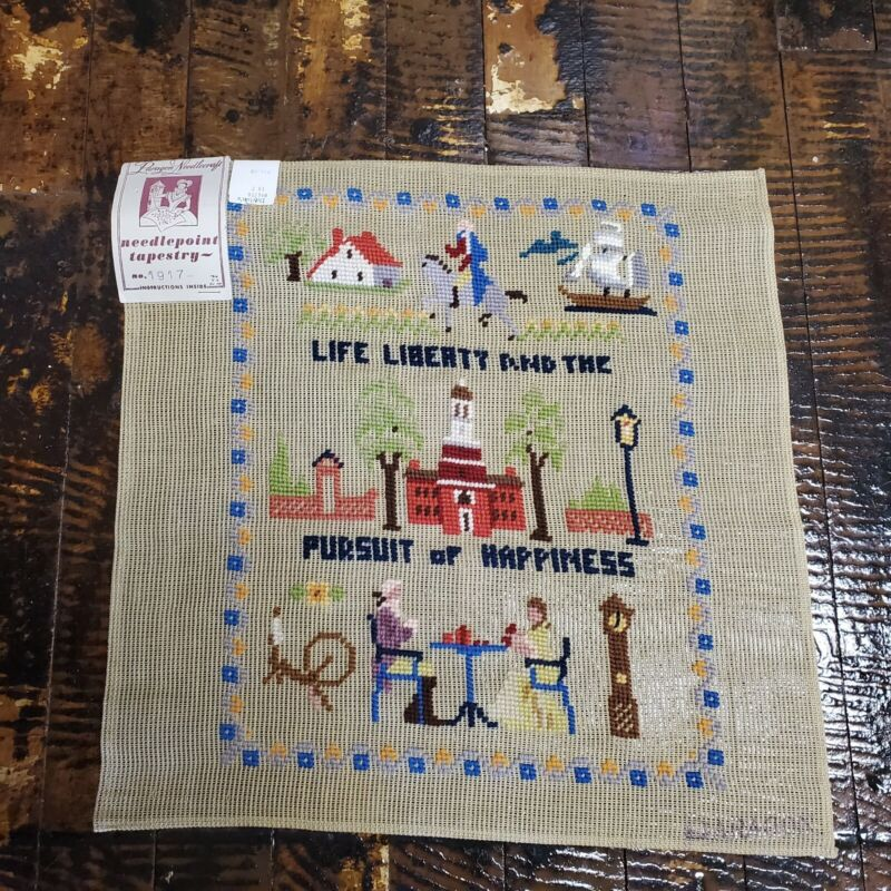 Vtg Life Liberty & Pursuit of Happiness Needlepoint Unfinished
