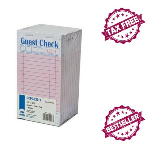 "Pink Guest Check Board 3.5"" x 6.69"" Book Size Lined Pages"