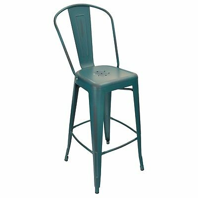 New Oversized Viktor Steel Restaurant Bar Stool W Distressed Kelly Blue Finish