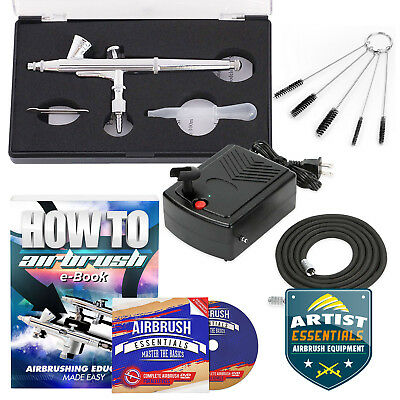 (Starter Airbrush Kit Dual Action Gravity Feed Air Compressor Crafts Art)
