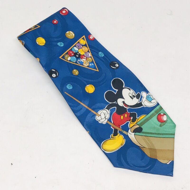 Walt Disney Mickey Mouse Playing Pool Billiards Mens 100% Silk Neck Tie