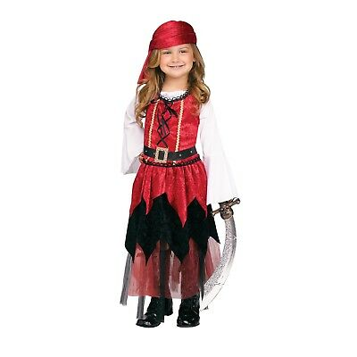 Girls Child Princess Pirate Costume Red Dress Belt Bandana Toddler 2T 3T-4T - Princess Pirate Costume Toddler