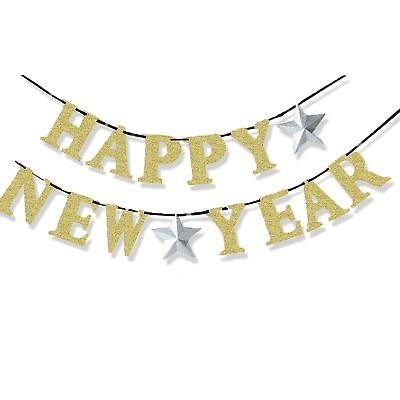 3.6m Happy New Year Eve Gold Glitter Garland Banner Bunting Party Decoration - New Year Eve Party Decorations