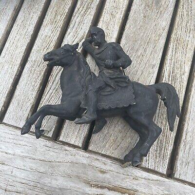 Old Antique Vintage Damaged Knight on Horseback Spelter Statue Sculpture