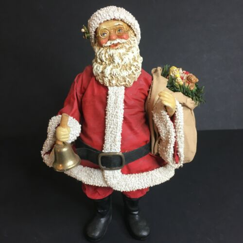 Vtg Midwest Paper Mache Christmas Figurine, Santa With Bell and Gift Toybag