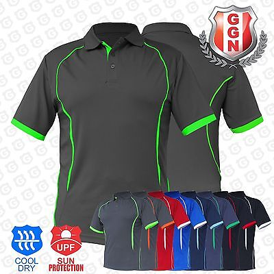 Mens Contrast Polo Shirts SPORTS WORK CLUB GYM TEAM TRADIES ACTIVE UNIFORM
