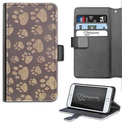 (HAIRYWORM BROWN DOG PAW PRINTS DELUXE LEATHER WALLET PHONE CASE, FLIP CASE)