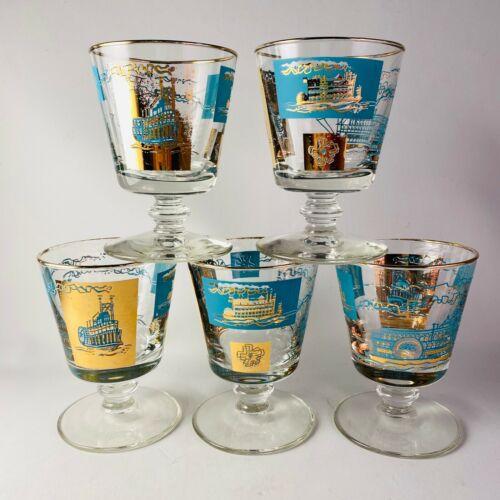 Libbey Southern Comfort Glasses Set of 5 Pedestal Base Cocktail Mid Century MCM