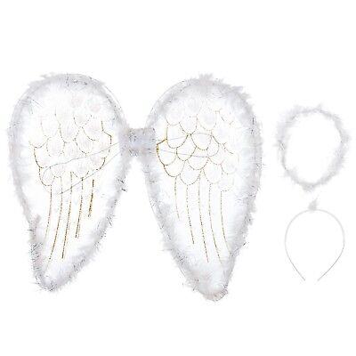 Weiß Federflügel Gold Glitzer XXXL Kostüm Kinder - Weiße Fee Kostüm Flügel