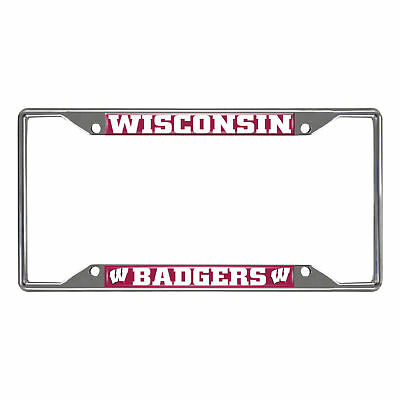 (FANMATS NCAA University of Wisconsin Badgers Chrome License Plate Frame)