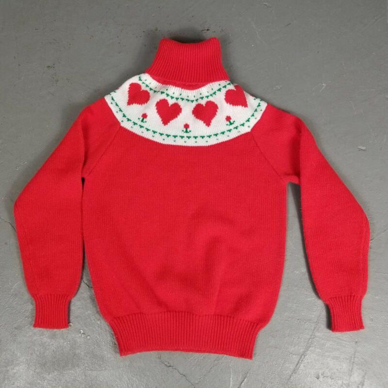 Vintage 70s 80s Girls Sweater Red Heart Cowl Sz L 14 valentines soft acrylic